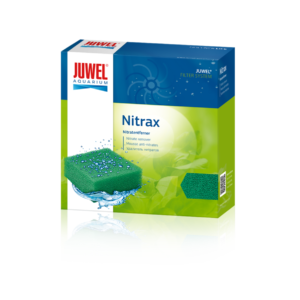 Nitrax JUWEL Nitrax reduces nitrate levels in your aquarium, leading to a considerable reduction in algae growth. Nitrax is a biological filter on the containing specialist microorganisms to break down poisonous metabolites (ammonium/nitrite) in your aquarium, thus reducing the danger of fish mortality. Nitrax also reduces algae growth by anaerobically breaking down nitrate, thus supporting the vitality of your fish. Characteristics of JUWEL Nitrax: • Reduces nitrate • Promotes plant growth • Increases the vitality of your fish • Purely biologically active