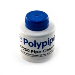 Plastic Pipe Cleaning Fluid should be used on all joints prior to gluing to insure a clean surface 250ml code 7600