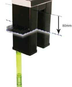 The TUNZE outlet 1074/2 is an ideal solution for pressure less water treatment with surface suction from below the aquarium. Abt. 50 per cent of the surface water and abt. 50 per cent of the water at the bottom of the aquarium is removed. The outlets remove only as much water as is pumped into the aquarium ( Maximum 1,200 litres ). On account of the light-protected construction, they are almost maintenance-free. The Tunze outlets are supplied ready for mounting, without inlet and outlet pipes, with detailed mounting instructions. Two outlet systems should be used for aquariums with more than 600 litres. At the outlet side, commercially available outlet pipes can be connected to the pipe sockets. However, in order to keep the noise as low as possible, we recommend outlet hose and fittings 1075/2. For the inlet, we recommend our inlet hose and fittings 1073. The connecting hose for the pumps of the TUNZE cabinets is already included. ( pipe work needed )