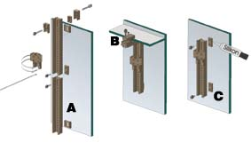 Tunze Holding Device Extension 3000.260 Holding device extension, enables three other fastening variants: Holding device extension (A) Extension of the perforated rail by 20 cm Glass top attachment (B) Used to attach the perforated rail below glass tops with a width of 4 to 15 cm. Adhesive attachment (C) The clamp holding device is not required for this type of attachment. Instead, two threaded platelets have to be stuck to the aquarium pane with silicone adhesive 104.72 for the perforated rail.