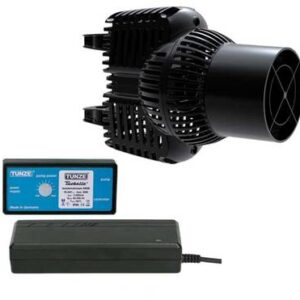Tunze Master Stream 6550.000 For aquariums of over 5,000L (1,320 US gal.) Flow rate: 30,000 to about 50,000l/h (7,900 to 13,000 US gal./h) Flow velocity: 0.8 - 1.3m/s (31.5 - 51 in./sec.) Energy consumption: max. 110W Power supply unit: 100–240V / 50–60Hz / 12VDC Cable length: 10m (393.6 in.) Dimensions: L340 x W165 x H227mm (L13.4 x W6.5 x H8.9 in.) Ejection: diam. 125mm (4.9 in.) Attachment to pipe, diam. 32mm (1.25 in.)
