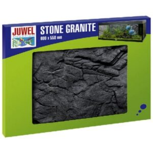 The Stone Granite colour background is a realistic image of a granite-coloured rock wall. The distinctive 3-D structure gives your aquarium a fascinating illusion of depth at a very low installation depth of just 1-3 cm. As part of the Stone Granite decorative range this colour background goes perfectly with the matching filter cover. The Stone Granite colour backgrounds are made of a highly condensed polyurethane coated with epoxy resin. If this complex production process makes it particularly easy to cut the colour backgrounds to size whilst providing an extremely tough colourfast surface. Easy to cut to size - Easy assembly with JUWEL Conexo - Modular expansion possible - Suitable for use with saltwater aquariums - Measurements 60 x 55 x 3 cm