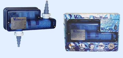 """TMC Vecton V2 120 Nano UV Steriliser Up To 30 Gallons Compact design, suitable for nano aquariums. Manufactured from impact resistant, translucent polycarbonate. Four stage hose tails for flexible hose from 1/2"""" to 11/4"""", held in place with screw on collars for easy removal when servicing and maintaining unit. UV shield to prevent direct viewing of the UV lamp. Compact, rigid pipe adaptors, for connection to 32mm, 40mm or 1"""" rigid pipe, are available. 36 month guarantee. Maximum Flow Rate 360lph."""