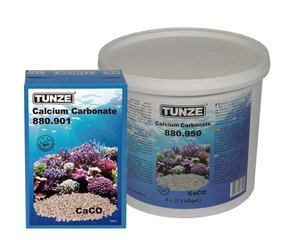 Tunze Calcium Carbonate Calcium Carbonate, over 99% CaCO3 (lime), grain size approx. 4 - 6 mm. For buffering the pH-value (it raises the carbonate hardness), whilst increasing the calcium content (Ca2+). Because of the grain size and the excellent buffering capabilities, this media is ideal for all calcium reactors, allowing good water flow within the reactor.