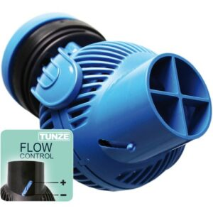 "Tunze Stream 6045.111 Anniversary Special Blue Colour  For aquariums from 40 to 500 litres (10 to 135 USgal.) Flow rate: 1,500 to about 4,500l/h (400 to 1,175 USgal./h) Energy consumption: 5 to 7W Voltage / frequency: 230V/50Hz (115V/60Hz) Cable length: 2m (8.7 in.) Dimensions: diam. 70mm (2.75 in.) Ejection: diam. 40/15mm (1.5/.59 in.) Magnet Holder with Silence clamp up to a glass thickness of 15mm (1/2"")"