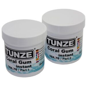Coral Gum instant is a two-component coral adhesive for safe cementing of coral fragments to substrate rocks. No deleterious matter or adhesive residue is introduced into the aquarium water; it is unbreakable, yet remains flexible and withstands high loads. Can be used in fresh-water and marine aquariums. Contents: 2 x 200g (14.11oz.) 0104.760