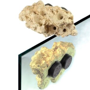 "Tunze Coral Frag Rack Long 0104.820 Magnetic Growing Rock for the placement of coral Frags Consists of a highly porous ceramic stone with a Live Rock Function, and has indentations to accommodate approximately 8 coral fragments as well as Reef Plugs. Suitable for fresh and sea water. It enables the highly decorative integration on the aquarium glass pane. Thanks to the two strong magnetic holders, the Coral Rack long is suitable for aquariums with a glass thickness of up to 12mm (1/2""). Under water it can be loaded with corals up to approx. 2 kg (4.4 lbs) dry weight with a glass thickness of up to 12mm (1/2""). With 15mm (2/3"") it can only be loaded with a dry weight of up to 0.8 kg (1.8 lbs). Dimensions (L x W x H) approx.: 240 x 100 x 140 mm (9.5 x 3.9 x 5.5 in.)."