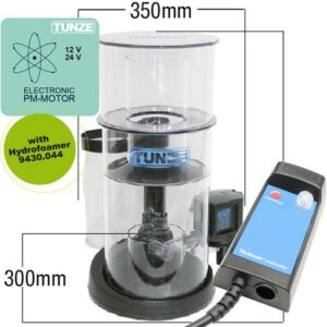 Tunze Protein Skimmer 9430.001 DC Recommended for salt water aquariums up to 3,500liters (925USgal.). Immersion depth from 100 to 200 mm (3.9 to 7.8 in.) Dimensions (L x W x H): 350 x 300 x 490 mm (13.8 x 11.8 x 19.3in.) Water flow rate: adjustable up to 2,500l/h (660 US gal.), Air flow performance: adjustable up to 1,800 l/h (476 US gal./h) Energy consumption: up to approx. 38 W Power supply unit: 100-240V / 50-60Hz Cable length: 3 m up to Turbelle®controller Skimmer cup volume: 2 liters (.5USgal.)