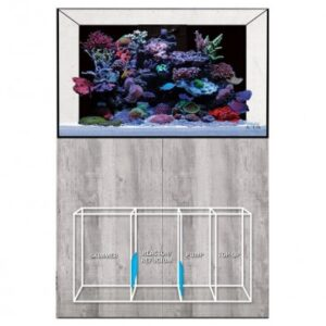 eaReefPro is a new range of reef ready aquariumsfrom Evolution Aqua. They differ from eaReef in that they are taller,and come with black backgrounds as standard.They also have built-in weirs and hard plumbing. All modelswill come with identical cabinets to eaReef and will be available16 colours.