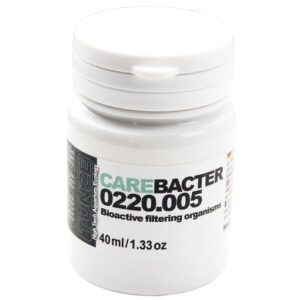 Care Bacter contains bacteria on a substrate of powdered Maerl gravel, whichhelpkeep fresh or seawater aquaria clean. Mode of action: 1. Various green and filamentous algae will be greatly reduced, algae growth on aquarium panes will be retarded. The introduced bacteria are in competition with the algae mentioned.
