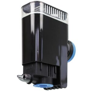 "The Tunze Comline® Filter 3161 is a very compact and quiet internal filter which offers the Comline® design with two chambers, a surface suction device and floor-level suction for Nano fresh water and marine aquariums from 30 liters (7 USgal.) to 100 liters (26 USgal.). It is also a single-purpose surface filter, especially for the surface film removal in large aquariums up to 1,000 liters (264 USgal.). In such aquariums which are often not equipped with a drain, the Comline® Filter 3161 is able to ensure the highly efficient surface cleaning with only a small footprint. It contains an adjustable Comline® energy-saving pump 900, which can be adjusted to a low power output for small aquariums, and an increased power output for large aquariums. A Silence Magnet Holder for a glass thickness of up to 10 mm (3/8 in.) is integrated into the support of the Comline® Filter 3161, the filter is spaced from the glass with silicone buffers and doesn't emit any vibrations to the aquarium. The glass thickness can be expanded up to 15 mm (2/3"") for larger aquariums (accessory). The pre-chamber of the filter which handles approx. 15% of the total water throughput has enough space for a small heater or organic material in Nano aquariums, but also for pH or temperature probes in larger aquariums. The main chamber is designed to be used with filter wool or any type of filter media, contains a filter sponge and is easily removable. The Comline® Filter 3161 is ready for installation and includes the filter media."