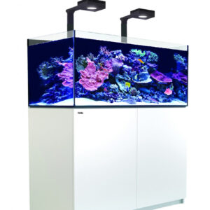 """The REEFER™ Deluxe 425 XL incorporates the all-new ReefLED 90lighting units with Red Sea's bespoke mounting system into the Reefer reef ready systems in a convenient single package.The lighting is fully controllable via the built-in WiFi which is compatible with iOS and Android devices, and with any wifi-enabled Mac or PC. The bespoke mounting system bolts firmly onto the rear wall on the tank and can be rotated to the upright position during reefscaping or other tank maintenance. Red Sea's REEFER™ series of Reef Systems, provide advanced hobbyists with a solid foundation for building a fully featured reef or marine aquarium. The REEFER™ series combines a contemporary, rimless, ultra-clear glass aquarium with a stylish cabinet and a comprehensive water management system, including a professional sump with integrated automatic top-up, and Red Sea's unique silent down-flow system. Incorporating technologies originally developed for Red Sea's all-in-one MAX® coral reef systems, the REEFER™ series is designed for ease of operation while enabling the advanced hobbyist to install an unlimited choice of lighting, filtration, circulation and controllers to create a uniquely customised system. Features of the Red Sea REEFER™ include: Rimless, ultra-clear, beveled edge glass aquarium Elegant marine-spec cabinet Professional sump with constant height skimmer chamber and micron filter bags Silent, regulated down-flow system with emergency overflow Integrated automatic top-up system with reservoir Assembly-ready piping – no gluing required REEFER™ Specification REEFER™ aquariums are constructed from thick, beveled-edge, ultra-clear glass to support their elegant and modern rimless design. The aquarium sits on a recessed base that """"floats"""" it above the cabinet, which seamlessly follows the contour of the glass.The marine-spec laminated cabinet that houses the sump, (and in the larger models also includes a dedicated, vented space for chillers) is smartly finished with weatherproo"""