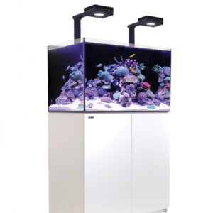 """The REEFER™ Deluxe 250 incorporates the all-new ReefLED 90lighting units with Red Sea's bespoke mounting system into the Reefer reef ready systems in a convenient single package. The lighting is fully controllable via the built-in WiFi which is compatible with iOS and Android devices, and with any wifi-enabled Mac or PC. The bespoke mounting system bolts firmly onto the rear wall on the tank and can be rotated to the upright position during reefscaping or other tank maintenance. Red Sea's REEFER™ series of Reef Systems, provide advanced hobbyists with a solid foundation for building a fully featured reef or marine aquarium. The REEFER™ series combines a contemporary, rimless, ultra-clear glass aquarium with a stylish cabinet and a comprehensive water management system, including a professional sump with integrated automatic top-up, and Red Sea's unique silent down-flow system. Incorporating technologies originally developed for Red Sea's all-in-one MAX® coral reef systems, the REEFER™ series is designed for ease of operation while enabling the advanced hobbyist to install an unlimited choice of lighting, filtration, circulation and controllers to create a uniquely customised system. Features of the Red Sea REEFER™ include:  Rimless, ultra-clear, beveled edge glass aquarium Elegant marine-spec cabinet Professional sump with constant height skimmer chamber and micron filter bags Silent, regulated down-flow system with emergency overflow Integrated automatic top-up system with reservoir Assembly-ready piping – no gluing required REEFER™ Specification REEFER™ aquariums are constructed from thick, bevelled-edge, ultra-clear glass to support their elegant and modern rimless design. The aquarium sits on a recessed base that """"floats"""" it above the cabinet, which seamlessly follows the contour of the glass.The marine-spec laminated cabinet that houses the sump, (and in the larger models also includes a dedicated, vented space for chillers) is smartly finished with weatherproo"""