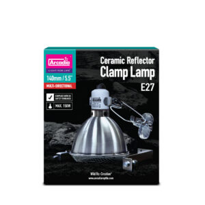 The Arcadia Reflector Clamp Lamp is a fully inclusive kit, containing everything you need to fit Mercury vapour lamps (other light and heat sources), over an open table. Using the Arcadia vivarium adapter, you can fit it inside a vivarium as well. Dimensions - 14 cm