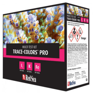 Red Sea Trace Colours Pro Test Kit Coral Colours Pro Test Kit – 50 I2 Tests, 40 K Tests & 50 Fe Tests Advanced Tests Kit for the high accuracy measurement of iodine, potassium and iron elements. I2 | K | Fe Red Sea's Coral Colours Pro Test Kit includes advanced tests for the high accuracy measurement of iodine, potassium and iron. All of these elements are associated with many biological functions, including coral pigmentation. The Coral Colours Pro Test Kit enables accurate dosing of three of the Coral Colors Supplements range, which are part of the compete Red Sea Reef Care Program.