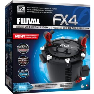 Building off the high-performance FX platform, the all-new FX4 canister filter bridges the gap between the Fluval 406 and the FX6 canister filters, making it an ideal choice for aquariums up to 250 US Gal (1000 L).